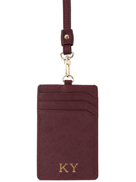 Saffiano Leather Lanyard in Mulberry