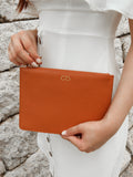 Saffiano Clutch in Tan