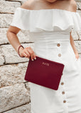 Bestseller: Saffiano Slim Clutch in Burgundy