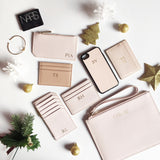 Saffiano Slim Cardholder in Warm Taupe