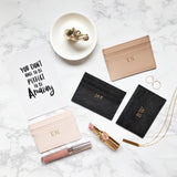 Personalized Customized Monogram Saffiano Slim Cardholder in Black The Oak Bar Singapore