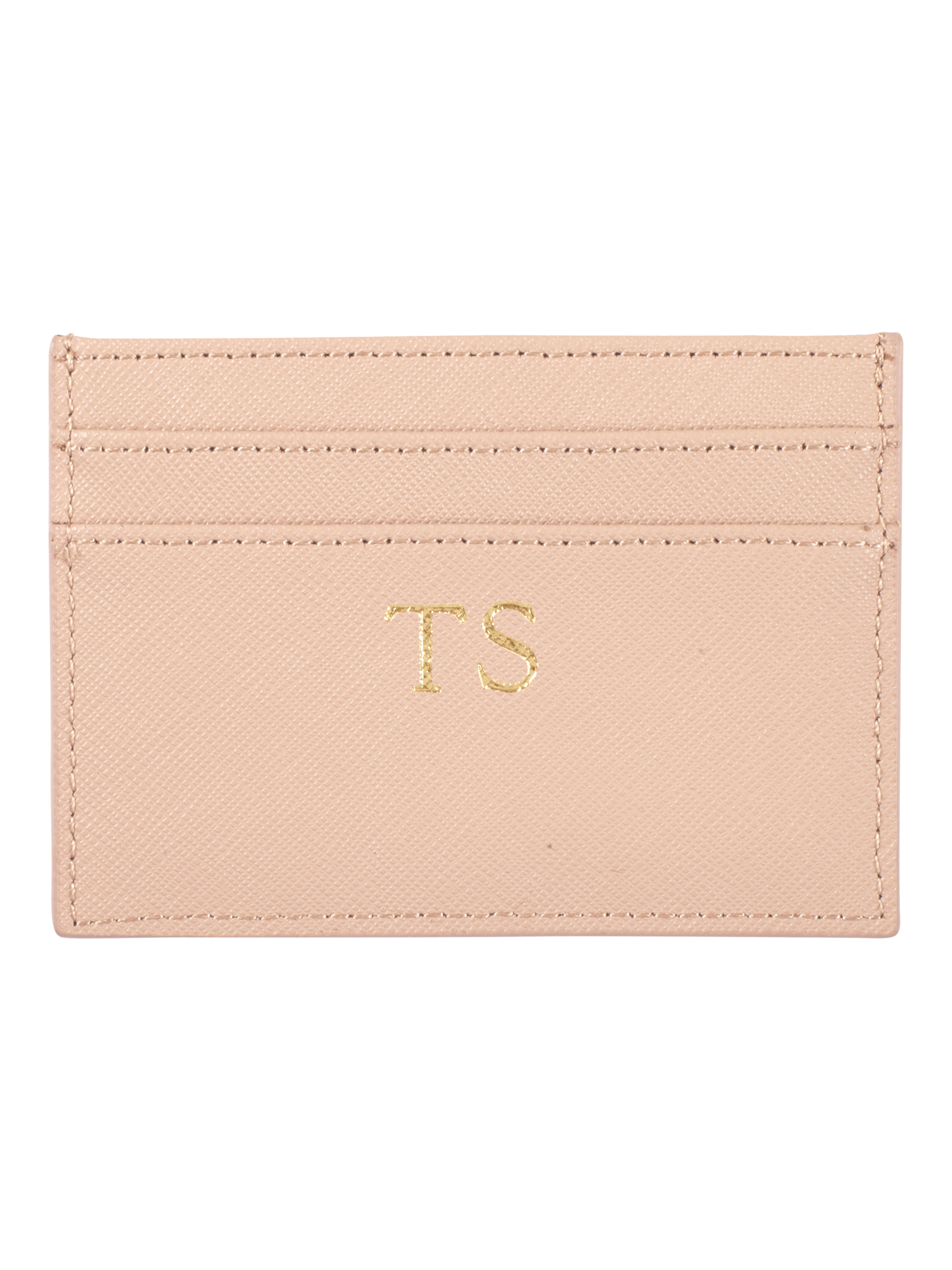 Personalized Customized Monogram Saffiano Slim Cardholder in Warm Taupe The Oak Bar Singapore