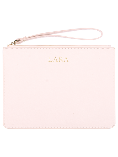 Personalized Customized Monogram Saffiano Slim Clutch in Marzipan The Oak Bar Singapore