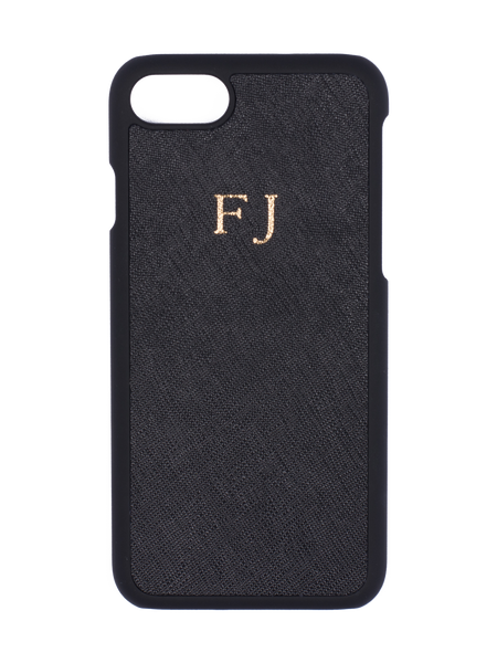 Personalized Customized Monogram Saffiano iPhone 7/8 and 7/8+ Hard Case in Black The Oak Bar Singapore