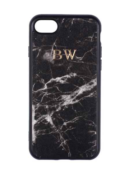 Personalized Customized Monogram Nappa Leather iPhone 7/8+ Case in Marble Noir The Oak Bar Singapore