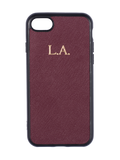 Saffiano iPhone 8 Case in Burgundy
