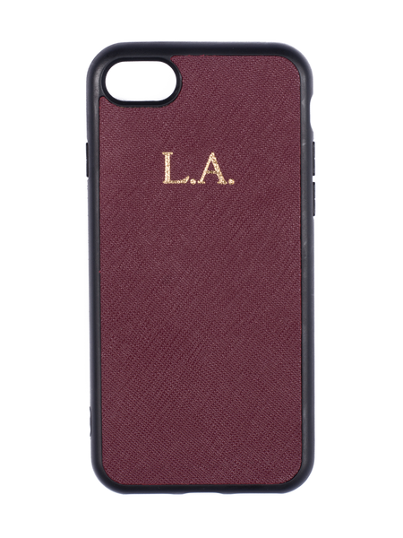 Personalized Customized Monogram Saffiano Leather Phone Case in Burgundy - iPhone 7/8 or 7/8 Plus The Oak Bar Singapore