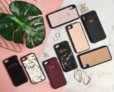 Personalized Customized Monogram Saffiano Leather iPhone X / XS Case in Black The Oak Bar Singapore