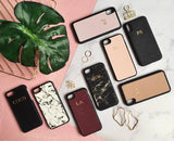 Personalized Customized Monogram Saffiano Leather iPhone X / XS Case in Nude The Oak Bar Singapore
