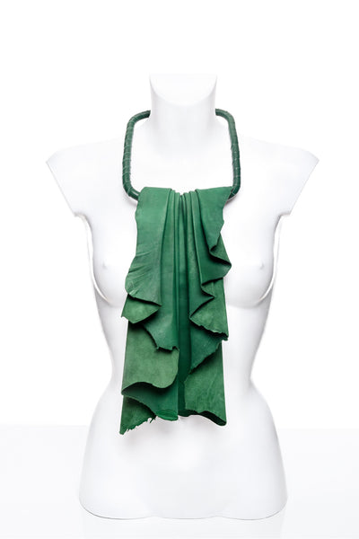 Green Leather Jabot
