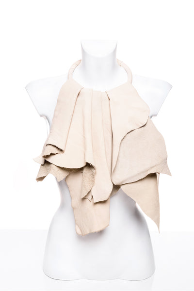 White Leather Jabot