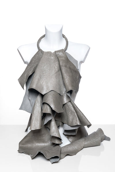 Silver Leather Jabot