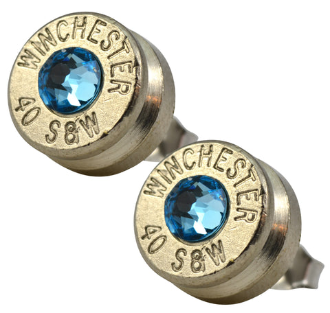 Little Black Gun Blue Nickel Stud Earrings