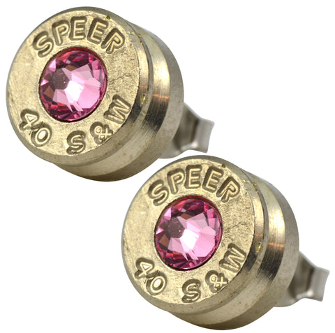 Little Black Gun Pink Nickel Stud Earrings