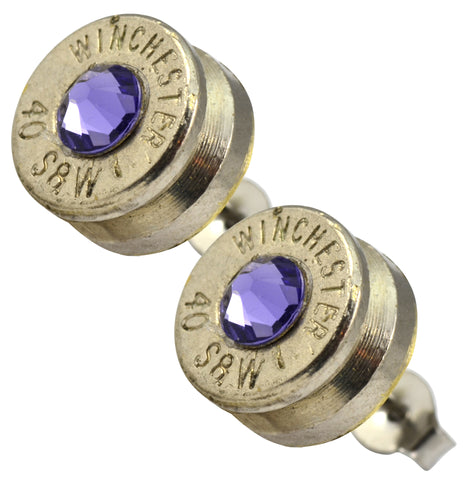 Little Black Gun Purple Nickel Stud Earrings
