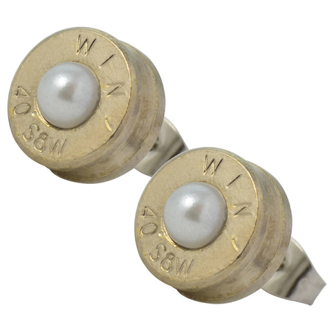 Little Black Gun Nickel Plated 40 S&W Bullet Shell Swarovski Crystal Stud Earrings in Pearl