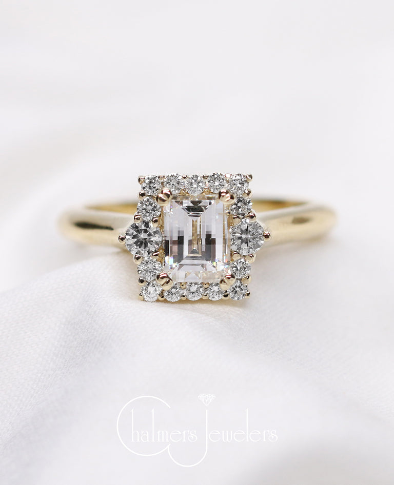 Custom Cushion Cut Diamond Halo Engagement Ring - Chalmers Jewelers