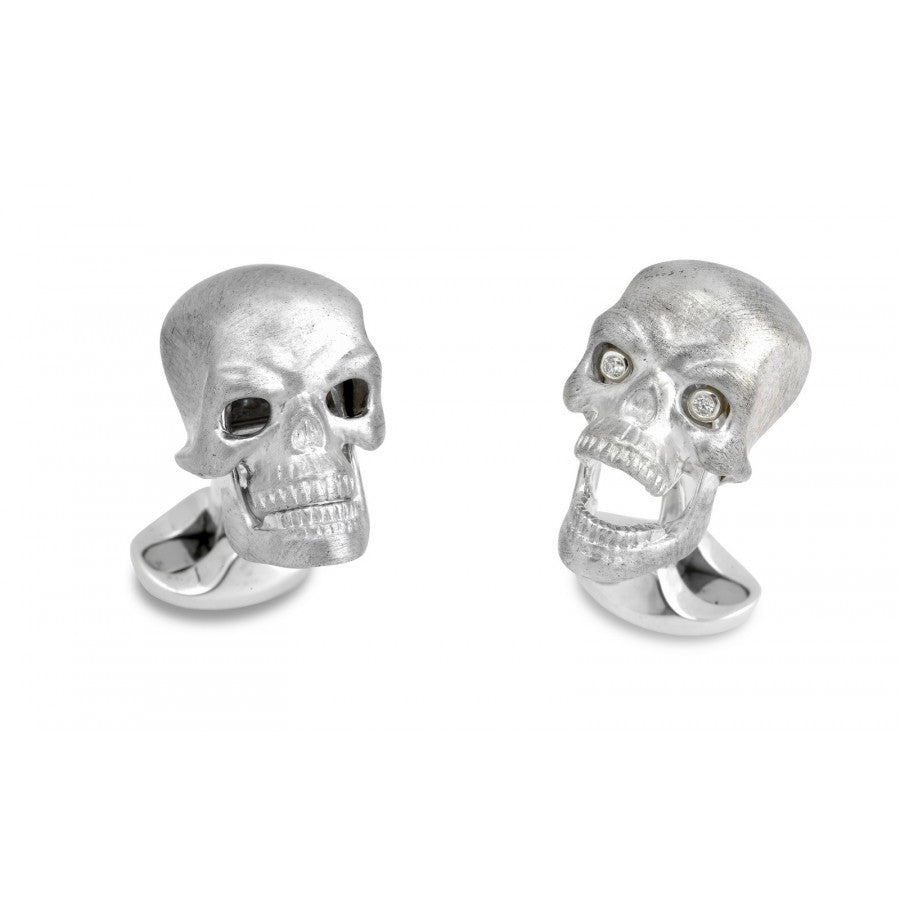 Deakin & Francis Silver Skull Cufflinks with Diamond Eyes