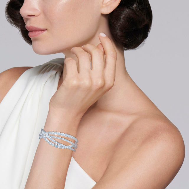 Entwine 4-Row Cuff Bangle with Diamonds