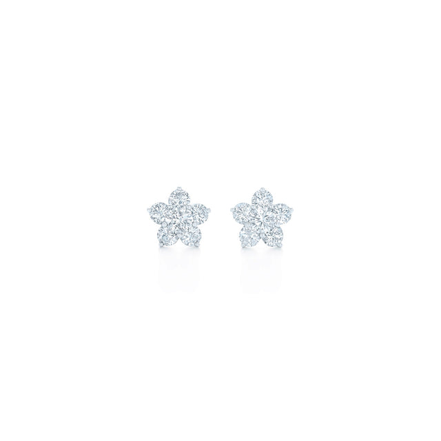 Floral Stud Earrings with Diamonds