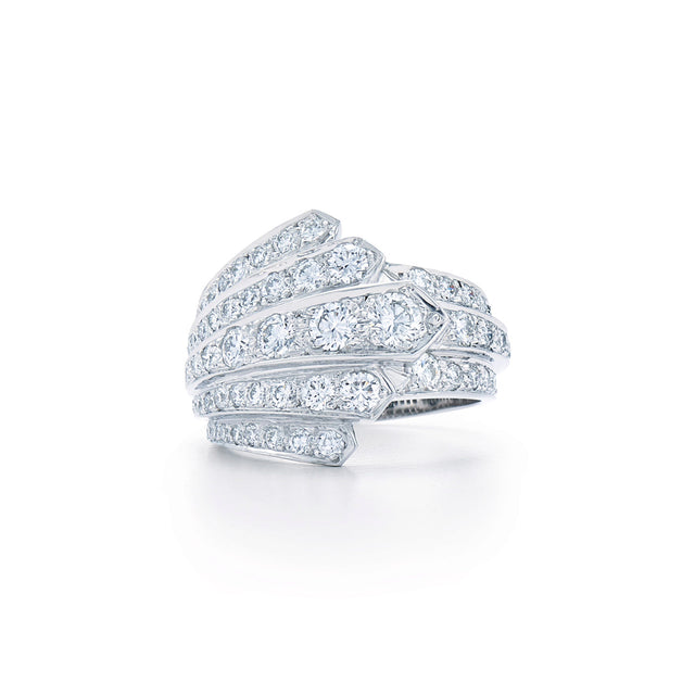 Cascade Ring with Diamonds