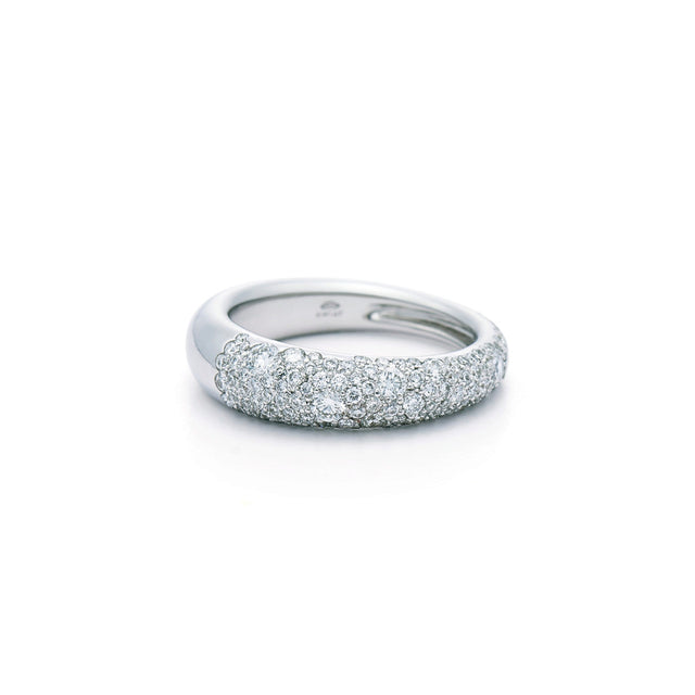 Cobblestone Band Ring with Pavé Diamonds