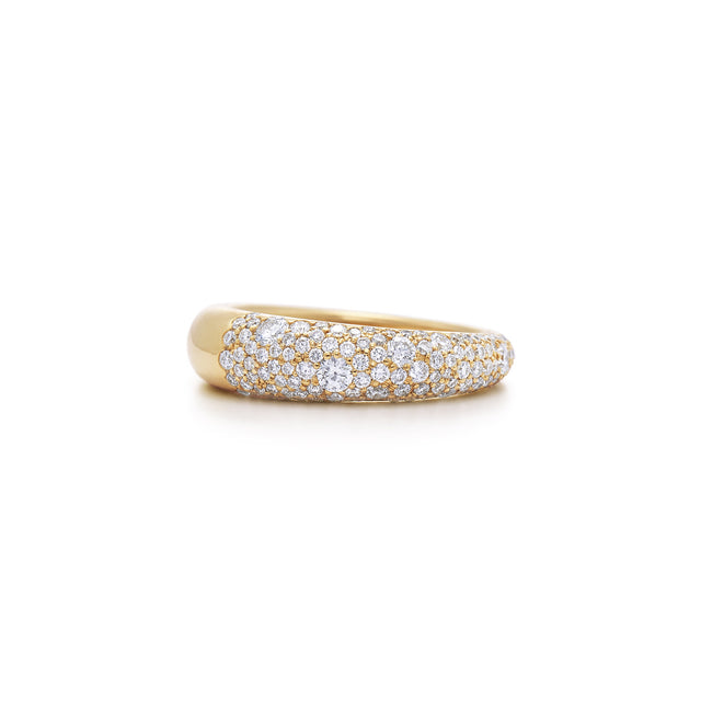 Pave diamond ring in 18k yellow gold