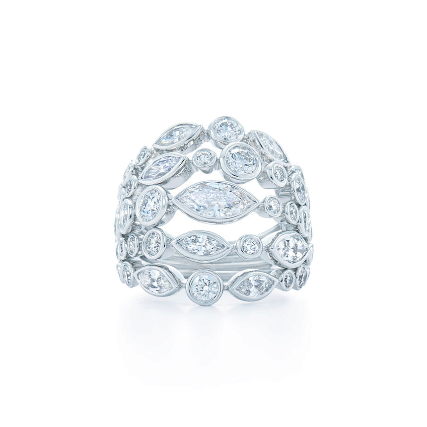 5-Row Ring with Diamonds