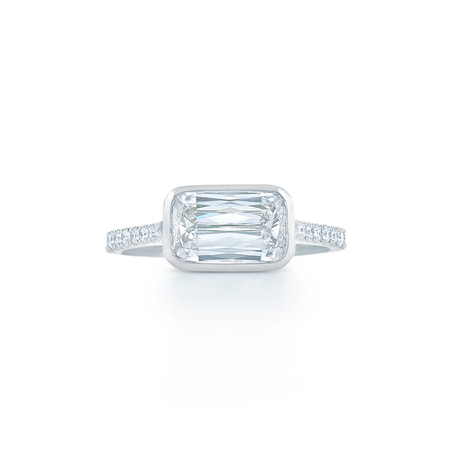 Ashoka cut diamond ring bezel set with pave diamond band set in platinum