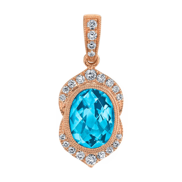 Blue topaz and diamond pendant in 14kt rose gold