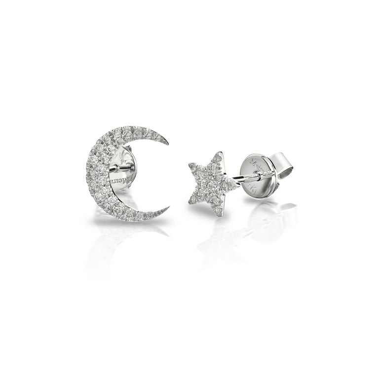 White Gold Pave Diamond Moon and Star Earring Set