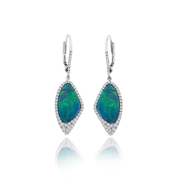 White Gold Australian Opal Earrings