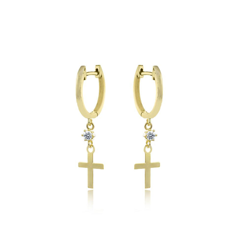 Diamond Cross Charm Earrings