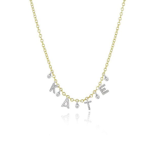 Custom Initial Diamond Necklace with 4 letters