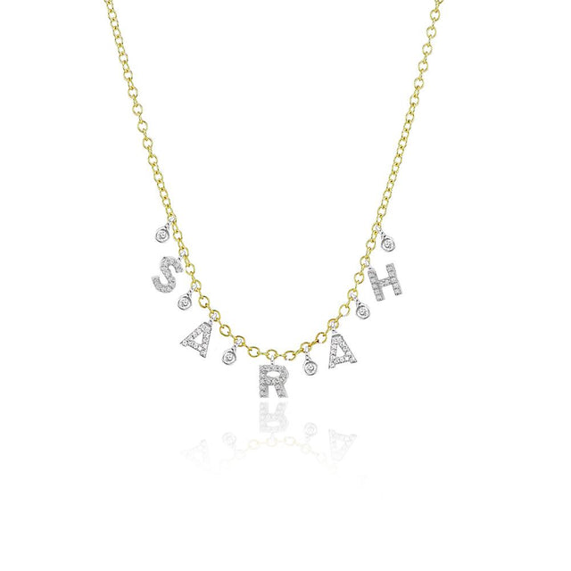 Custom Initial Diamond Necklace with 5 letters