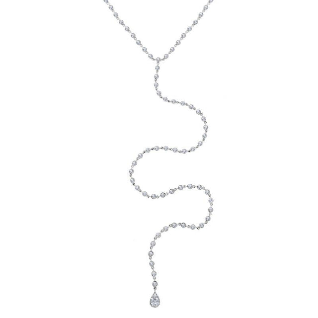 Diamond Bezel Chain Necklace With Pave Charm