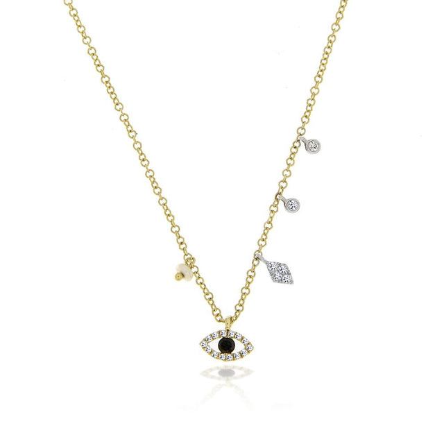 Yellow Gold Evil Eye Charm Necklace