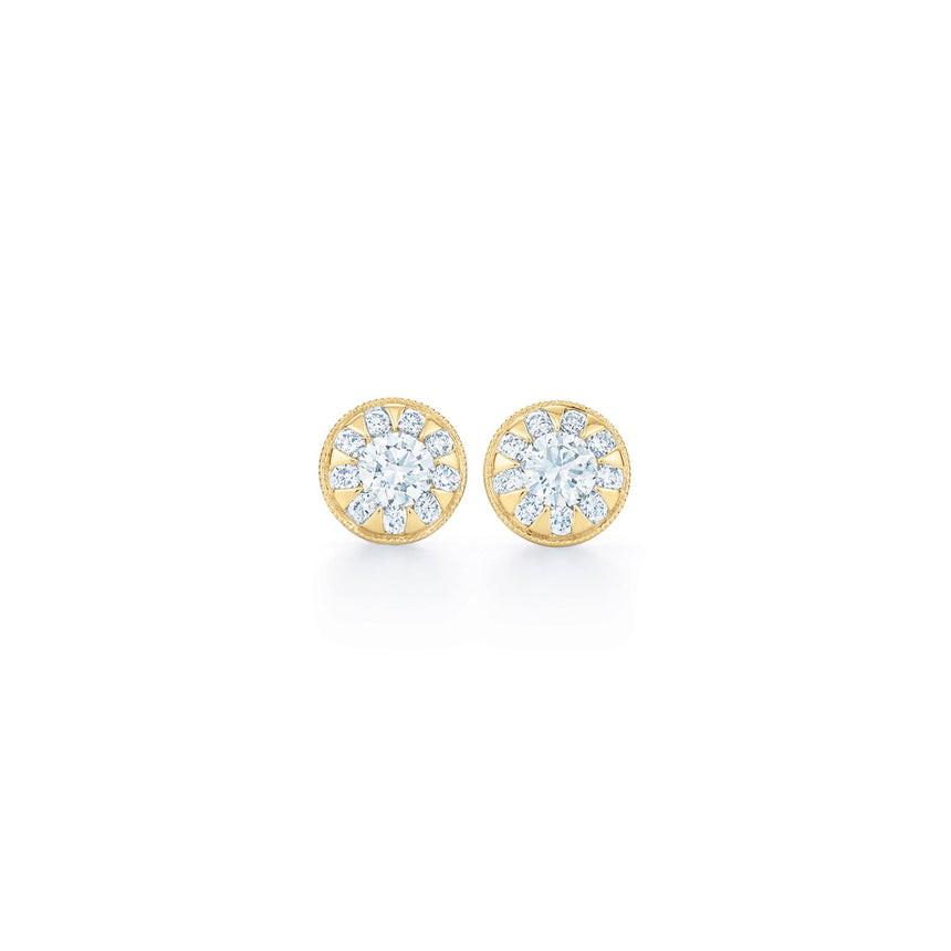 Sunburst Round Diamond Stud Earrings