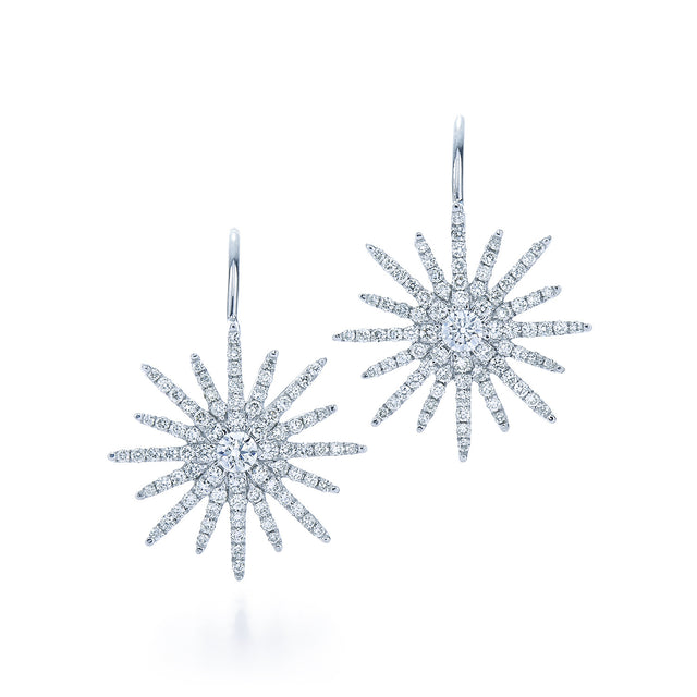 18kt White Gold and Diamond Sunburst Earrings