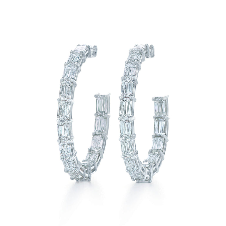 Ashoka Diamond Hoop Earrings in 18k White Gold