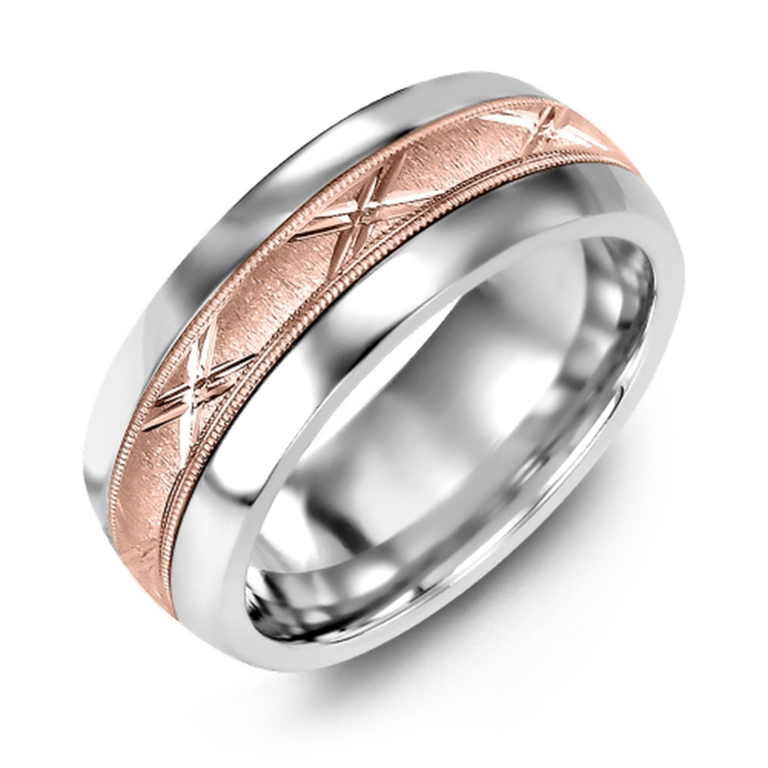Brushed Metal Diamond Cut Wedding Band