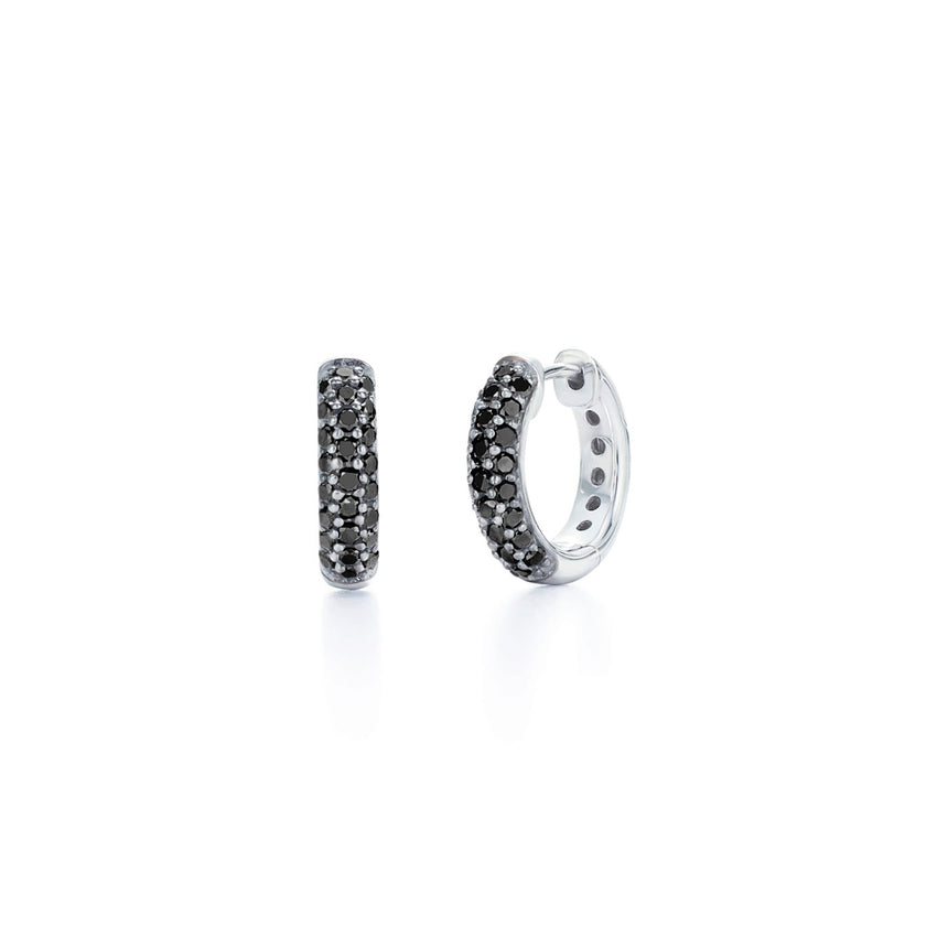 Moonlight Collection Pave Black Diamond Huggie Earring