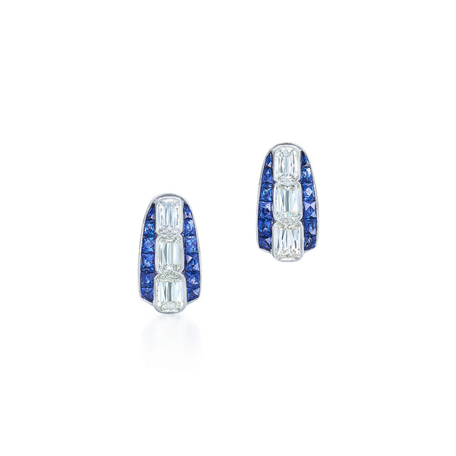 Ashoka Diamond Huggie Earrings with Sapphires