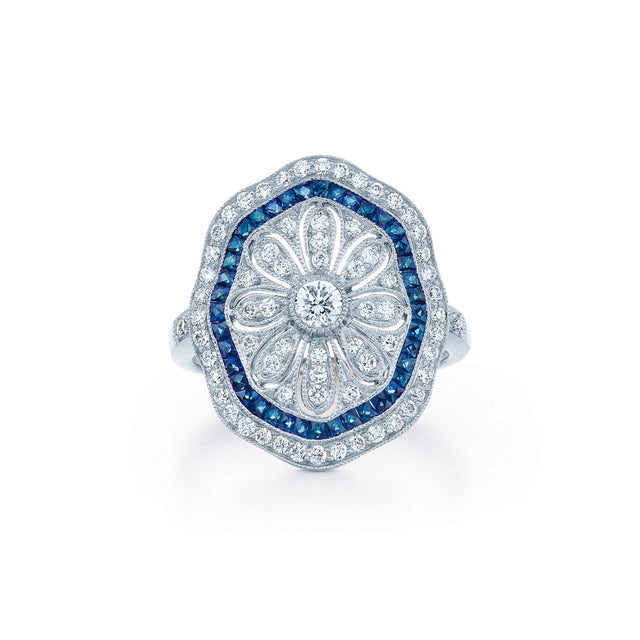 Diamond & Sapphire Saddle Ring