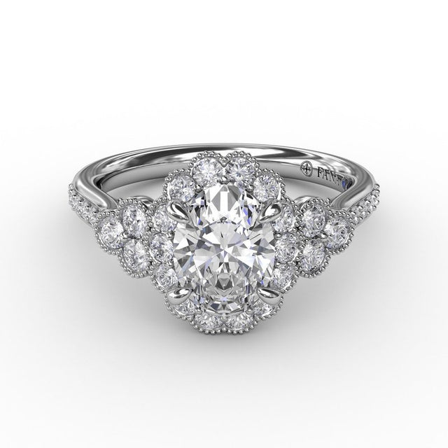 Scalloped Halo Engagement Ring With Diamond Clusters and Milgrain Details 3205