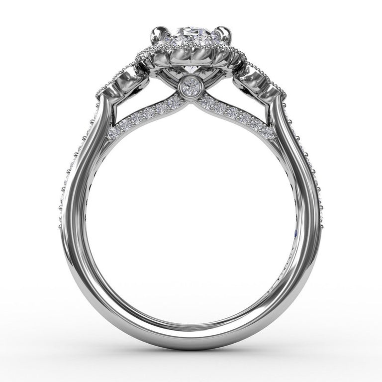 Scalloped Halo Engagement Ring With Diamond Clusters and Milgrain Details 3205 - Chalmers Jewelers
