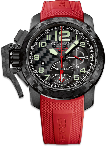 Chronofighter Carbon Red watch with superlight black carbon composite case