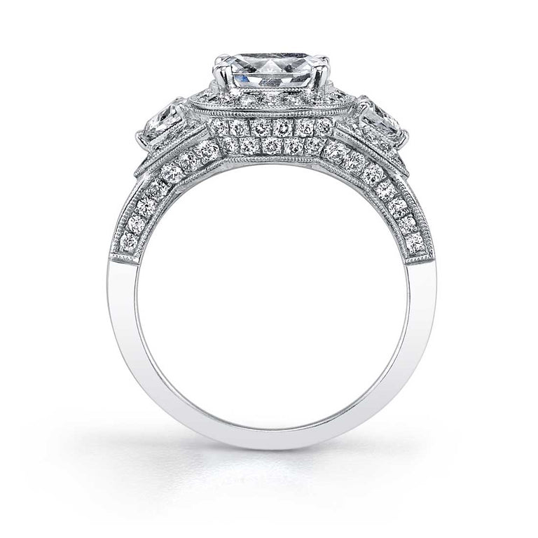Three Stone Cushion Cut Halo Engagement Ring SY447 - Chalmers Jewelers