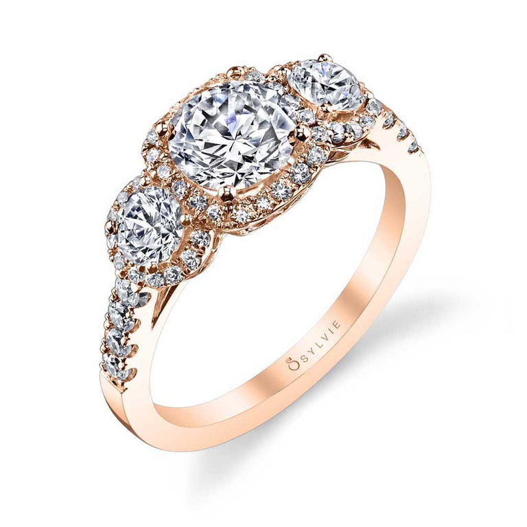 Three Stone Engagement Ring With Halo S1155 - Chalmers Jewelers