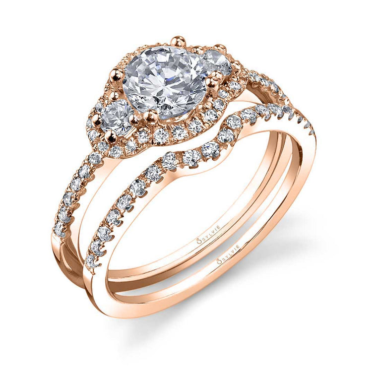 Three Stone Halo Engagement Ring SY693S - Chalmers Jewelers